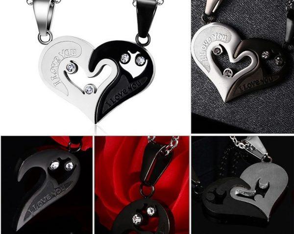 Кулоны парные Black-Silver Две половинки сердца