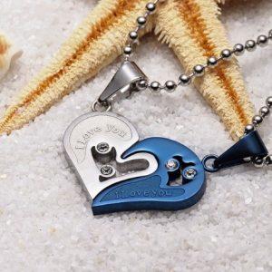 Кулоны парные Две половинки сердца Blue-silver