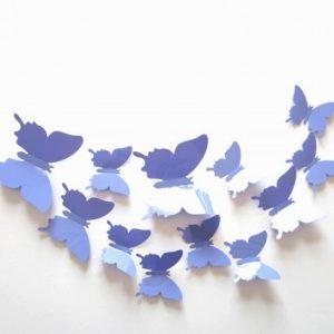 Интерьерные наклейки 3D Бабочки на стену (набор 12 шт) лавандовые