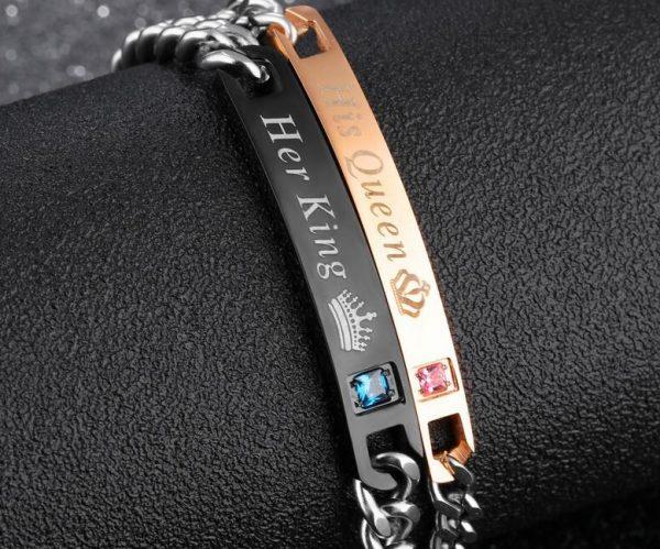 Парные браслеты для влюбленных Ее король - Его королева