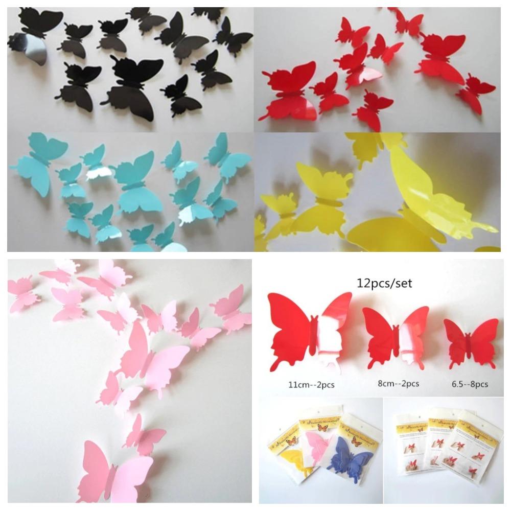 Интерьерные наклейки 3D Бабочки на стену (набор 12 шт)
