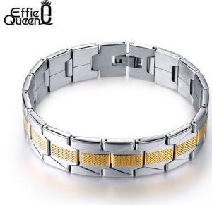 Мужской браслет из нержавеющей стали с золотистой полосой