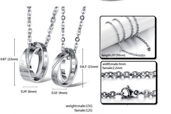 Парные кулоны для влюбленных Кольца - Навсегда