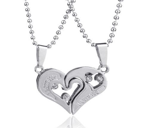Две половинки сердца парные кулоны серебристые на шариковой цепочке