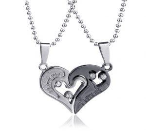 Парные кулоны Две половинки сердца Сияние