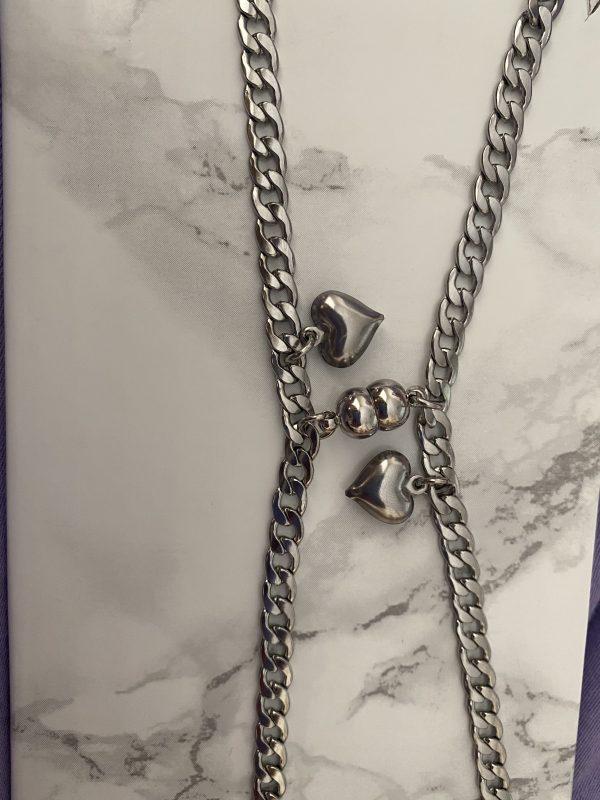 Парные браслеты с магнитами и подвесками Сердце