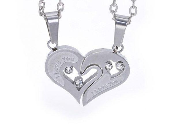 Парные кулоны Я люблю тебя - The silver