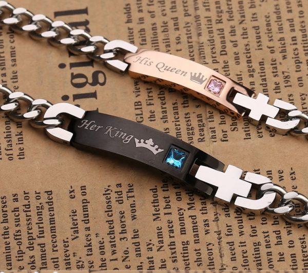 Для влюбленных парные браслеты Ее король - Его королева