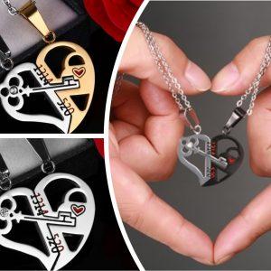 Кулоны для влюбленных парные Ключ в сердце