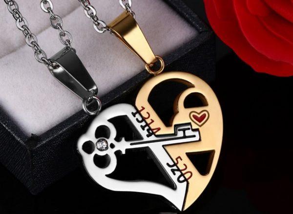 Парные кулоны для влюбленных Ключ в сердце Gold
