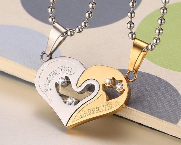 Кулоны парные Две половинки сердца золотые на шариковой цепочке