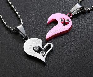 Кулоны парные Две половинки сердца розовые на шариковой цепочке