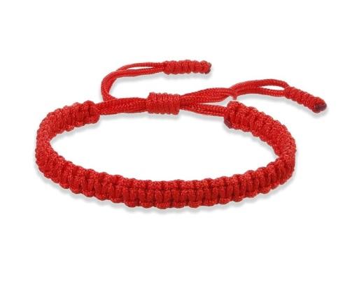 Браслет плетеный регулируемый красный