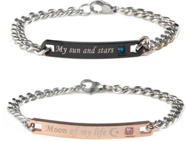 Браслеты для пары My sun - Moon of my life