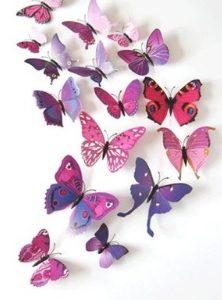 Интерьерные наклейки бабочки с магнитом набор 12 шт фиолетовые