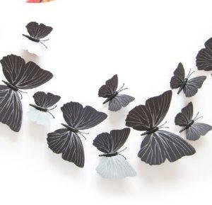 Бабочки интерьерные 3D на магните 12 шт черные