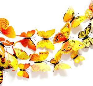 Декор - бабочки 3D с магнитом набор 12 шт желтые