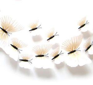 Бабочки 3D с магнитом набор 12 шт. белые