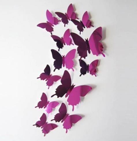 Декор на стену Бабочки из фольги набор 12 шт фиолетовый