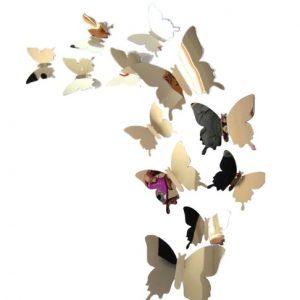 Декор на стену Бабочки из фольги набор 12 шт серебристый