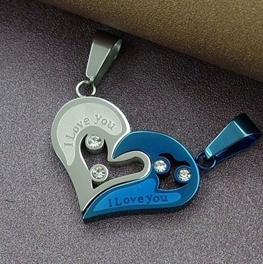 Парные кулоны - Я люблю тебя Silver Blue