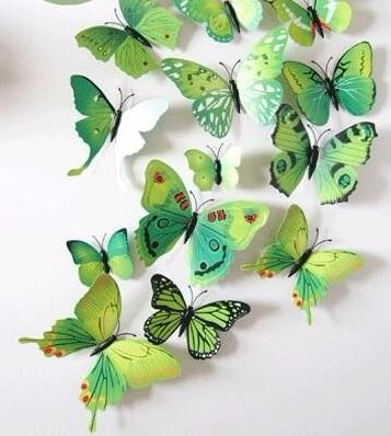 Интерьерные наклейки бабочки с магнитом набор 12 шт зеленые