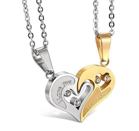 Парные кулоны Я люблю тебя - Golden Silver