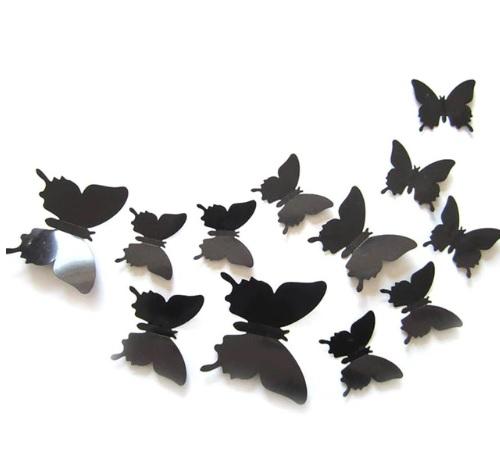 Интерьерные наклейки 3D Бабочки на стену (набор 12 шт) черные