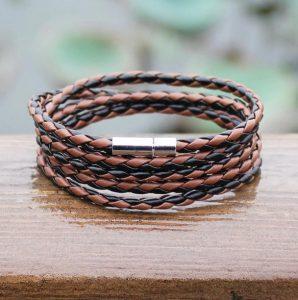 Браслет- змейка коричнево-черный