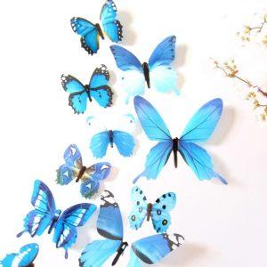 Бабочки - интерьерные наклейки 12 шт Blue gamma