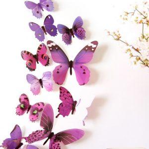 Бабочки - интерьерные наклейки 12 шт Violet gamma