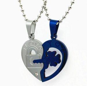 Парные кулоны Ключ к сердцу Blue