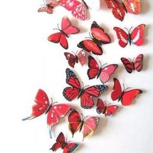Интерьерные наклейки бабочки с магнитом набор 12 шт красные