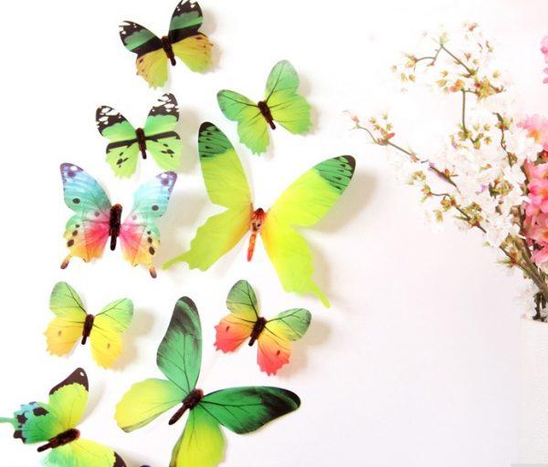 Бабочки - интерьерные наклейки 12 шт Green gammaБабочки - интерьерные наклейки 12 шт Green gamma