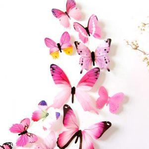 Бабочки интерьерные наклейки 12 шт Pink gamma