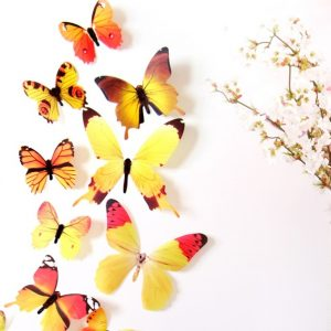 Бабочки - интерьерные наклейки 12 шт Yellow gamma