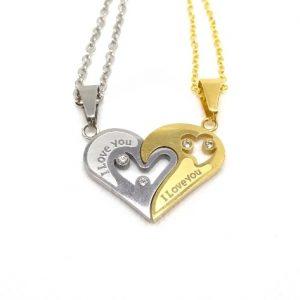 Парные кулоны Я люблю тебя Golden on a gold chain