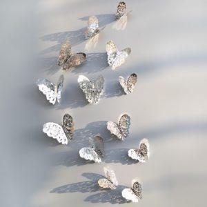Набор интерьерных бабочек серебристых 12 шт