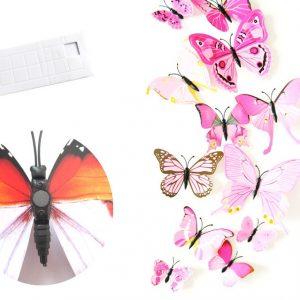 Интерьерные наклейки бабочки с магнитом набор 12 шт светло розовые