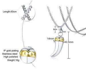Кулон стальной Клык