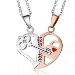 Для влюбленных кулоны Ключ в сердце love you Gold