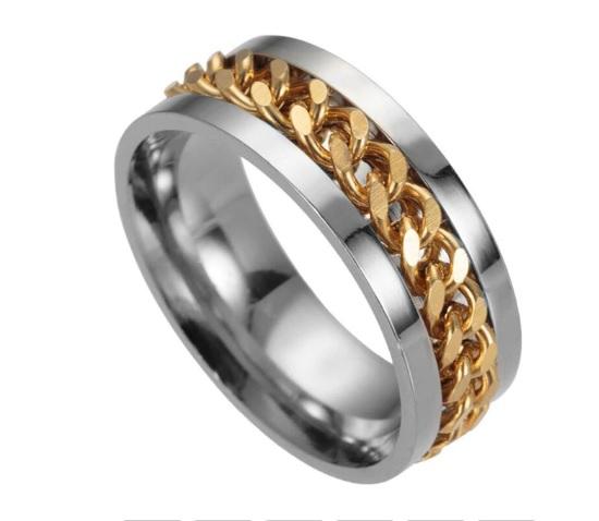 Кольцо-спинер для снятия стресса golden из нержавеющей, медицинской стали