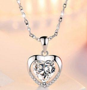 Кулон женский Хрустальное сердце Transparent