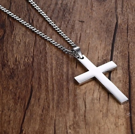 Крест серебристый мужской