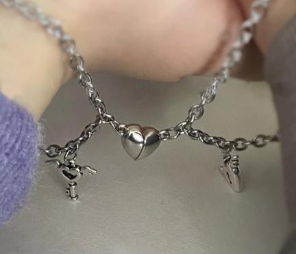 Парные браслеты Сердце Ключ на якорной цепочке