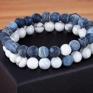 Браслеты двойные с камня Blue Stone White
