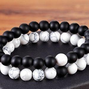 Браслеты двойные с камня White Black Onyx
