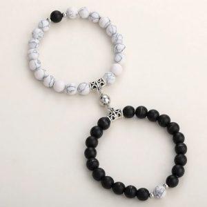 Браслеты двойные с магнитом Black - White marble