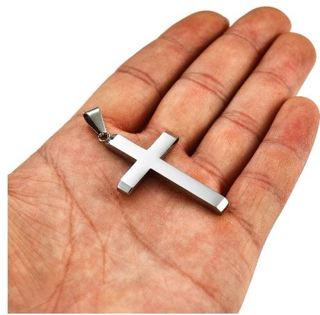 Крест большой из нержавеющей стали серебристый