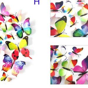 Интерьерные наклейки бабочки с магнитом набор 12 шт цветные